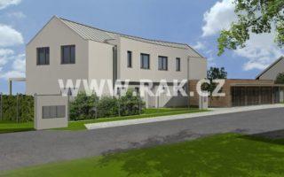 foto Tři prostorné byty 4+kk, 113 m2 – 119 m2, vlastní zahrada 223 m2 – 300 m2, 6x parkovací stání, obec Tuchoměřice, ul. Za Kostelem